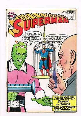 Superman # 167 The Team of Luthor and Braniac ! grade 4.5 scarce book !!