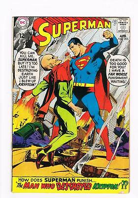 Superman # 205 The Man Who Destroyed Krypton ! grade 4.0 scarce book !!