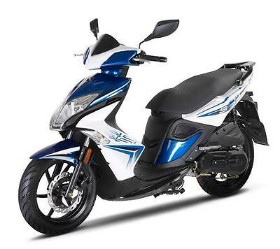 Kymco Super 8,50cc scooter,blue,100 mpg,new for 2017,2 stroke,24 mths warranty.