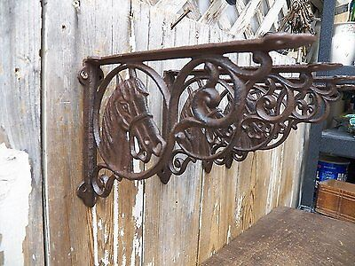 "Lot/Set 4 Antique-Style Cast Iron HORSE 6"" x 9"" SHELF BRACKETS Hangers Cowboy"