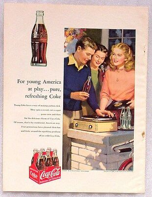 Vintage 1953 Coca-Cola Ad Teenagers Record Player 6 Pack Coke Bottles Albums