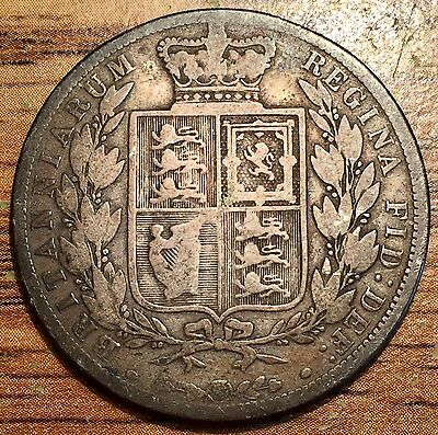 1883 Silver Great Britain 1/2 Crown Queen Victoria Young Head Coin