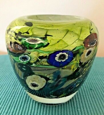 Paul Counts Hand Blown Multiple Overlay Art Glass Tide Pool Vase Signed 4.25 in