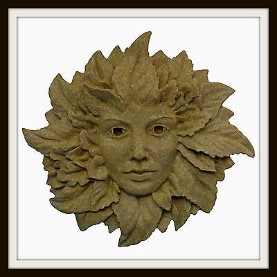 The Green Lady ~ Greenman Wall Plaque ~ Greenwoman ~ Garden Or Indoors Uk Made