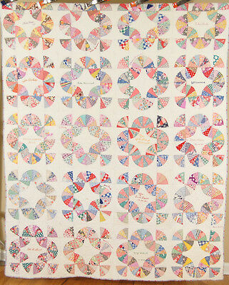 "WELL QUILTED Vintage ""Chinese Fans"" ""Baby Bunting"" Antique Quilt, Signed D. 1935"