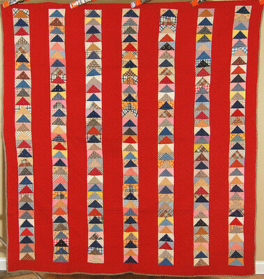 VIBRANT 1910s Vintage Flying Geese Antique Patchwork Quilt ~NICE RED BACKGROUND!