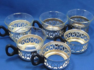 4 +2 Antique German Metal Cups With Separated inside Glass Cups