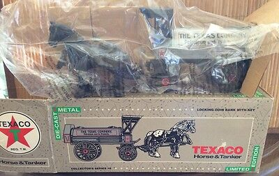 TEXACO DIECAST HORSE AND TANKER COIN BANK, MINT IN BOX , #8, L.Ed,