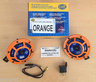 Hella Orange Panther Sharp Tone Dual Horns - Relay- 118 Db -12 Volt- Genuine