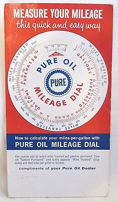 Vintage 1960 PURE OIL Mileage Dial Advertising Gas Oil Service Station Premium