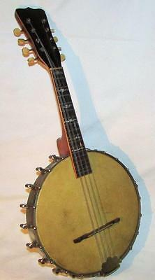 Antique 8 String Banjo Joseph B Rogers Stamp Calfskin Head Intact with MOP Inlay