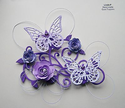 3D FLOWER, BUTTERFLY AND WIRE CARD CRAFT TOPPER  GEN 12-2 Lilac