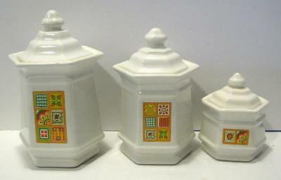 Avon Patch Work Quilt Canister 3 Pc Set
