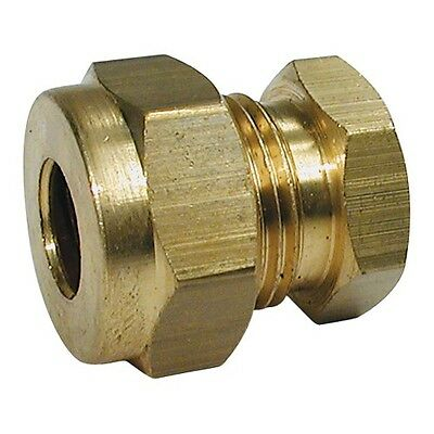 "Wade Brass 1/4"" Stop End Coupling Compression Fitting."