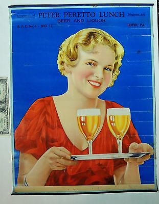 """vtg 1930s BEER Liquor Pin-Up Girl 20"""" Calendar Top, Peter Peretto Lunch IRWIN PA"""