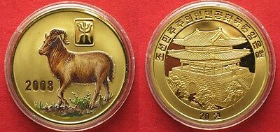 KOREA 20 Won 2008 Lunar YEAR OF THE GOAT brass COLORED Proof # 94944