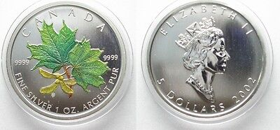 CANADA 5 $ 2002 MAPLE LEAF 1 oz silver COLORED # 95273