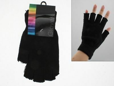 144 x Pairs of Gloves Fingerless unisex black