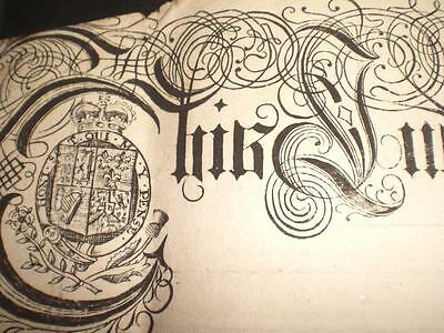 1748 Ornate Paper Indenture, Town Of Buckingham & Seal, A-Grade