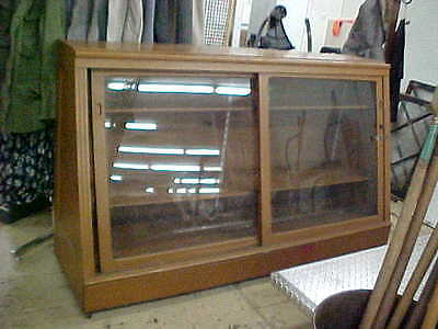 Antique Wooden Sliding Doors Showcase Display Case