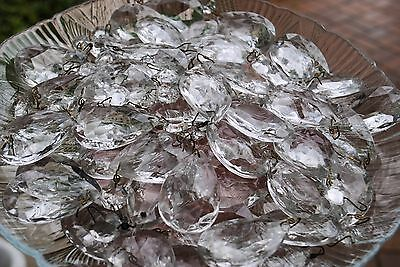 LOT 53 Vintage Crystal Glass Chandelier Tear Drop Replacement Parts  AS IS