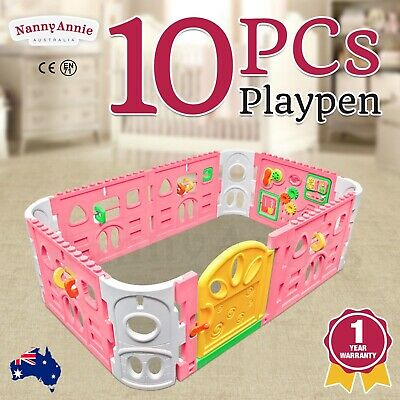 Baby Playpen with Door - Rectangle Interactive Play Room 1.6 x 1m (Pink)