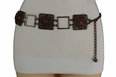 Women Fashion Belt Hip Waist Vintage Antique Gold Metal Charm Red Beads S M L