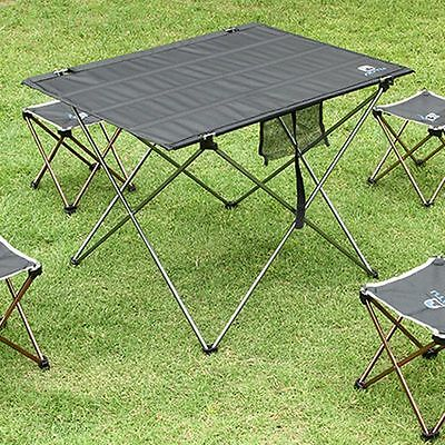 Folding Table Rust Protection Metal Desk Portable Camping Trip Roll Up Table