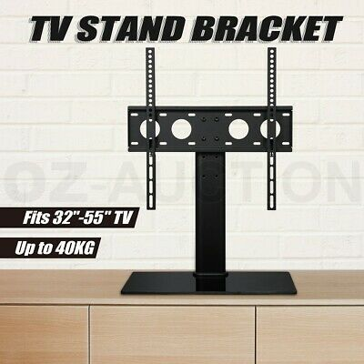 "TV Bracket Stand 32""-55"" Table Top Desktop Glass Base LED/LCD VESA Mount"