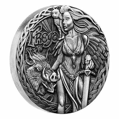 2017 Tuvalu, Norse Goddesses - Freya, 2oz silver antique finish coin Cert 477