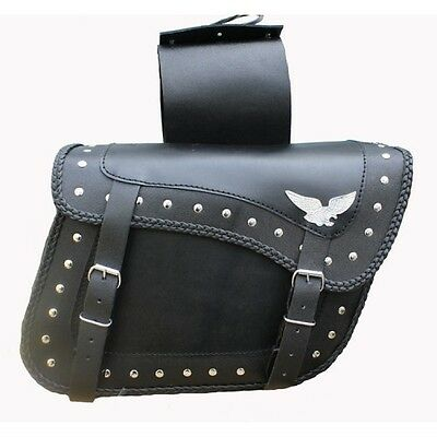New Flying Eagle Braided Trim Motorcycle Slant Saddle Bags Quick Release Buckles