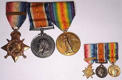 WWI World War One 1914 Mons Star Medal Trio miniature owned by Grenadier Guard