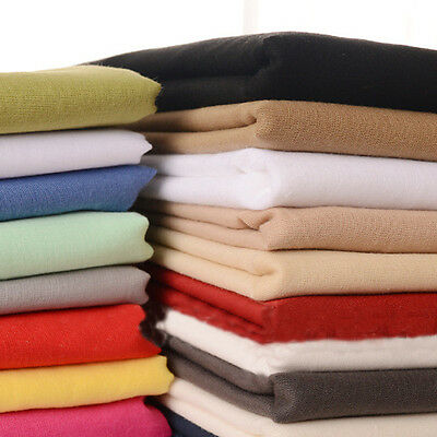 1.4M Width 100% Knitted Cotton Fabric Sheeting Plain Solid Colours DIY Handwork