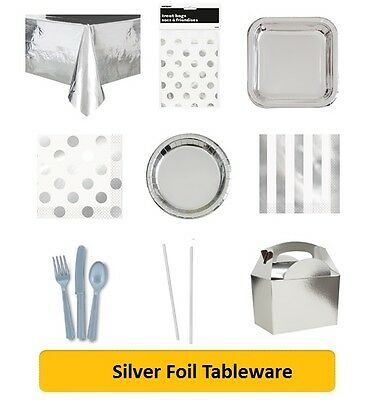 SILVER FOIL Party Tableware Disposable Birthday Supplies Event Decorations