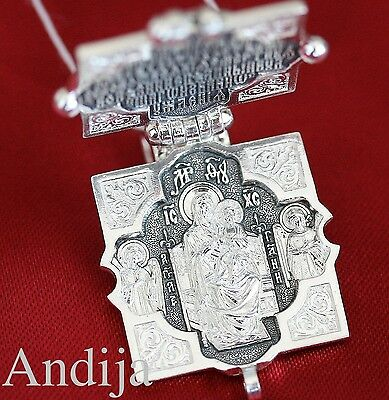 Big Locket Christian Jewelry Russian Orthodox Pendant Silver 925 Lord Almighty
