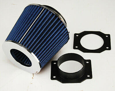 "BMW 318i E30 E36 84-91 AIR FILTER INDUCTION KIT 3"" ALLOY MAF INTAKE ADAPTER BLUE"