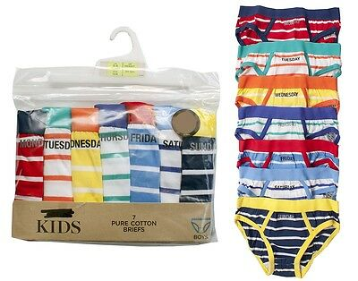 Boys PACK OF 7 Days of The Week Slip Briefs Stripe Pants Underpants 1 to 7 Years