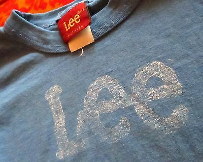SMALL 5-6 True Vtg 70s Boys Girls Crackle LEE JEANS GRAPHIC BLUE T-SHIRT USA