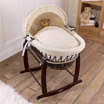 Clair De Lune Cream Waffle Padded Dark Wicker Baby Moses Basket & Rocking Stand