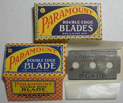 Vintage Razor Blades PARAMOUNT Old 3-Hole Style Full Pack of 5 (See Note)