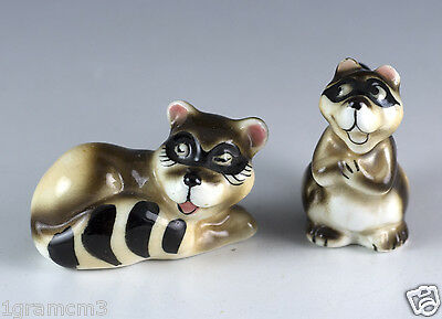 Vintage Pair of Miniature Bone China Whimsical Raccoon Figurines Glossy Finish