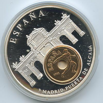 GY092 - Große Medaille Spanien mit 25 Pesetas 1991 European Currencies Madrid