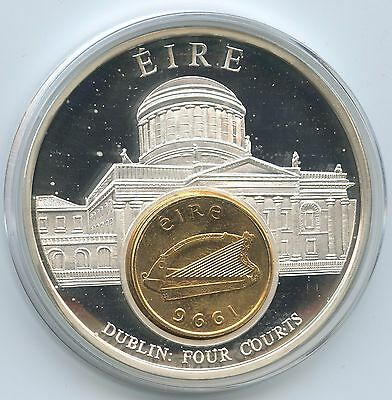 GY165 - Große Medaille Irland mit 1 Cent 1996 European Currencies Dublin