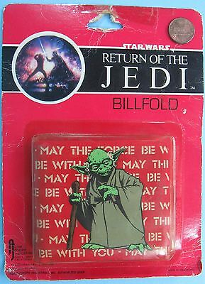 BILLFOLD '83 vtg YODA Adam Joseph May the FORCE Be With You MOC Star Wars wallet
