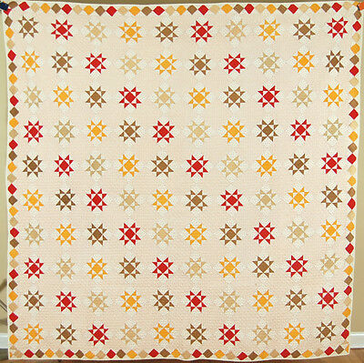 OUTSTANDING Vintage 1880's 8-Point Star Antique Quilt ~SMALL SCALE & DIAMOND BDR
