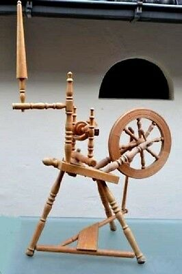 Vintage 1950s Dutch Branbants Real Working Wooden Spinning Wheel - home made