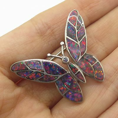 925 Sterling Silver Real Opal Gemstone Inlay Butterfly Pin Brooch