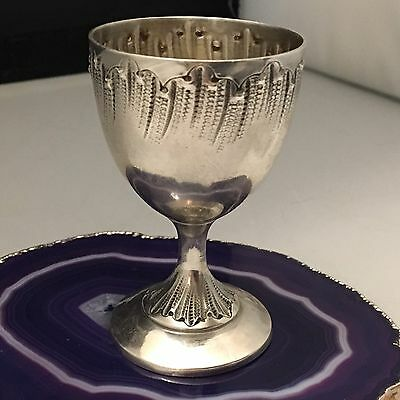 """Rocaille Pattern c1880 French Sterling Silver Vodka Cup Shot Glass """"Chalice""""L652"""