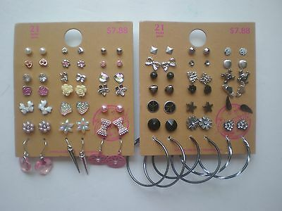 Lot of 42 Pairs of Studs Hoops  and Dangle Earrings Hypo Allergenic New