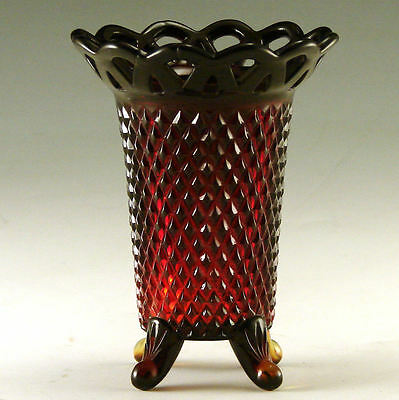 Imperial Glass Diamond Point Lace Edge Ruby Red Vase